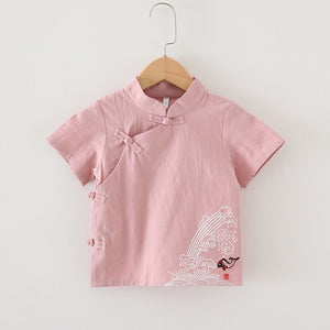 2-8Y Boys Mandarin Collar Shirt A100C17C