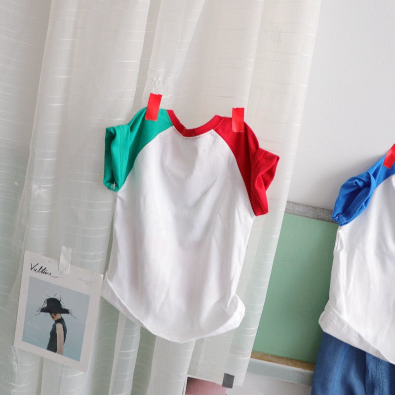 3-8Y Kids Shirts with Colour Sleeves A10462C