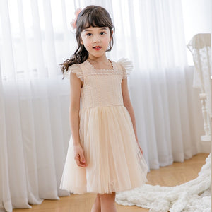 3-10Y Girls Lace Beige Tulle Dress G20128H
