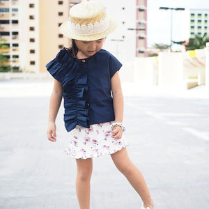 1-5Y Girls Blue Ruffles Top G222D