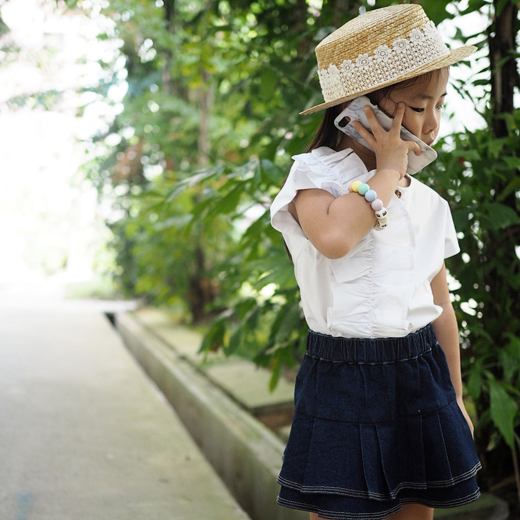 1-5Y Girls White Ruffles Top G222C
