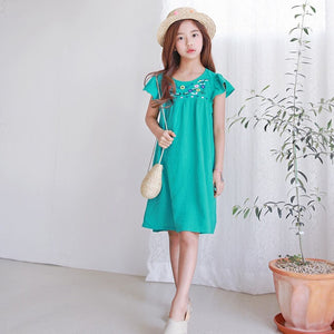 3-15Y Girls Green Embroidery Dress G21034G