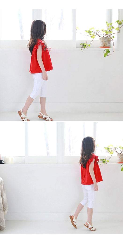 3-15Y Kids White Cropped Pants G21043C (Mother size available)