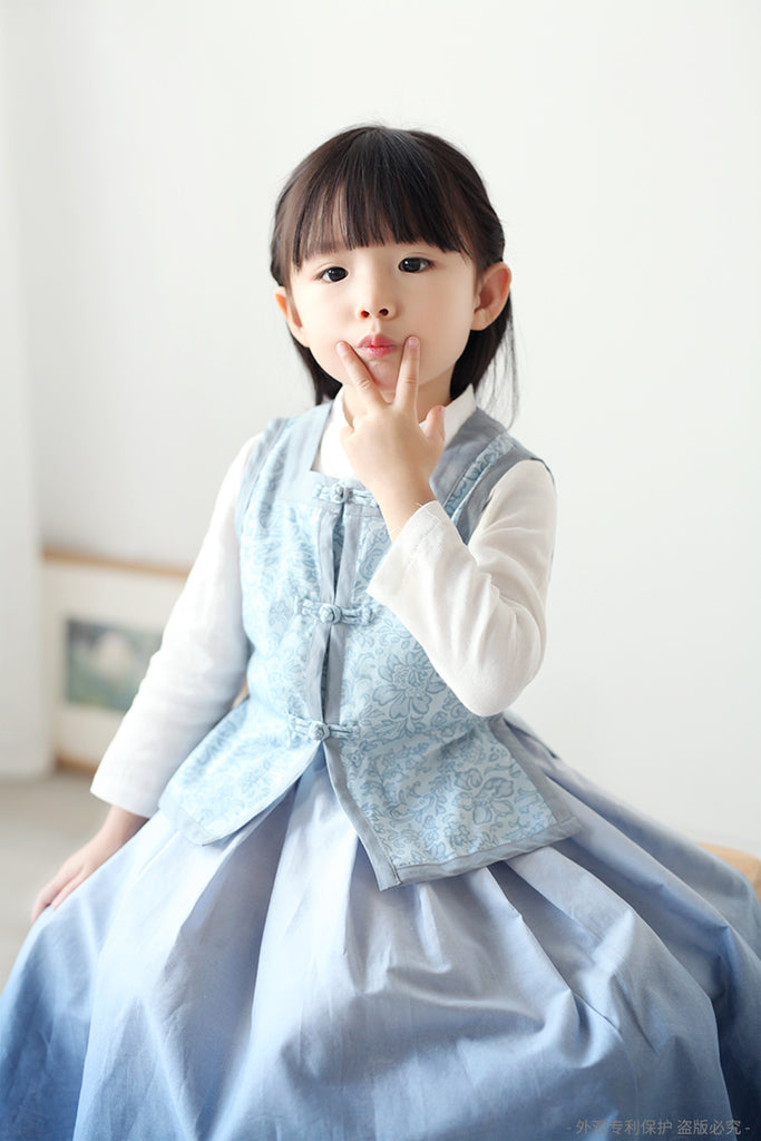 2-8Y Girls Gradient Blue Long Skirt A200C31H