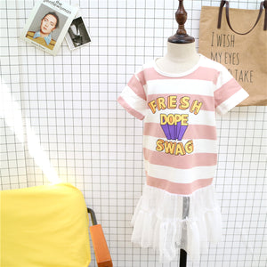 2-8Y Girls Pink Stripes Shirt Tulle Dress A20124A