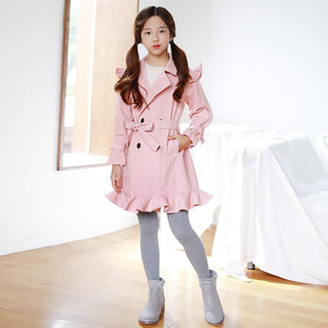Pre-Order 3-15Y Girls Pink Ruffle Coat G21044G (Mother size available)