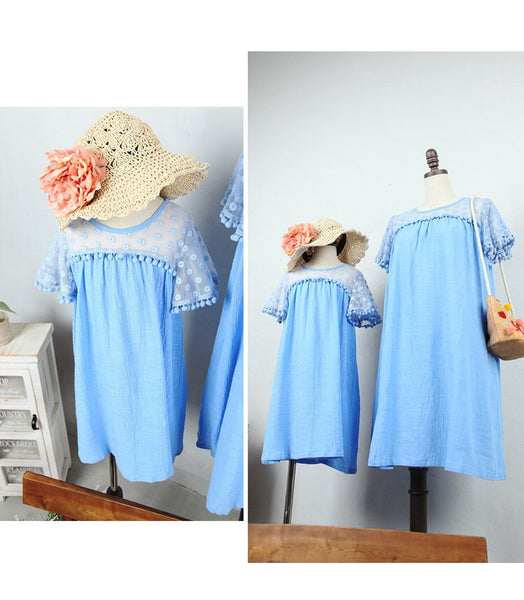3-15Y Girls Blue Pom Pom Dress G21031A (Mother size available)