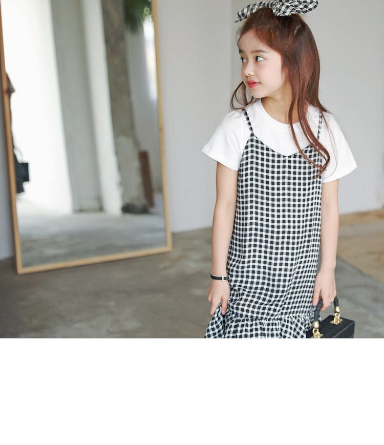 3-15Y Girls Checker Hem Dress with Inner Shirt 2pcs Set G21031B (Mother size available)