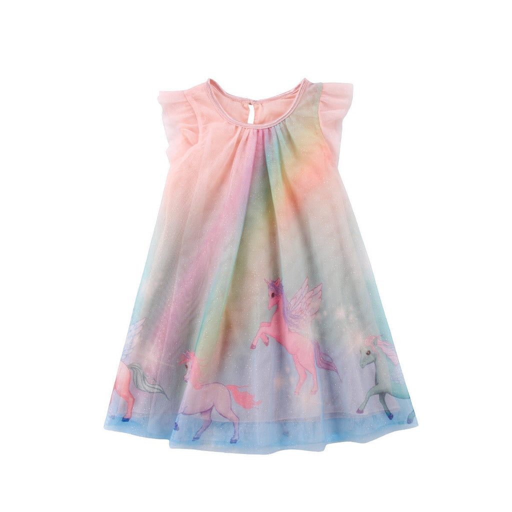 1-8Y Girls Glitter Unicorn Rainbow Tulle Dress A20127G