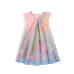 1-8Y Girls Glitter Unicorn Rainbow Tulle Dress A20127G (Pre-order second batch)