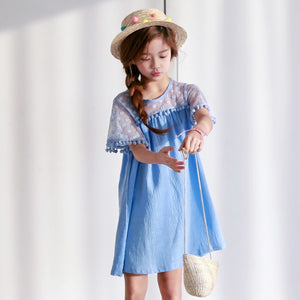 3-15Y Girls Blue Pom Pom Dress G21031A