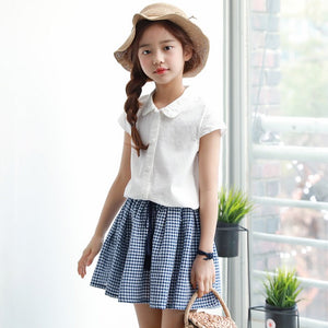 3-15Y Girls White Top and Checker Skirt 2pcs Set G21031C