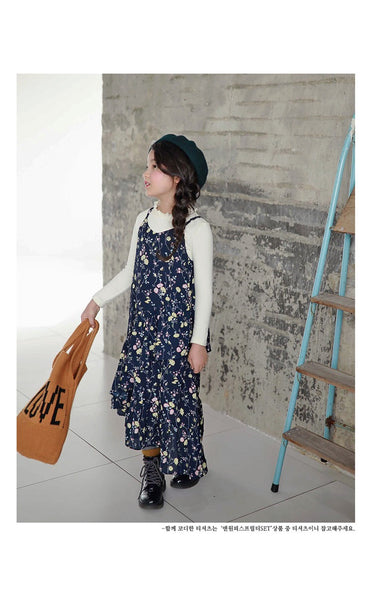 3-15Y Girls Floral Hem Dress G21031D (Mother size available)