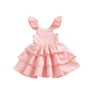1-6Y Girls Checker Layers Dress A20127J
