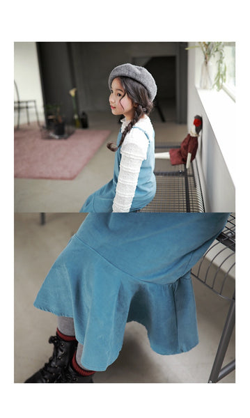 3-15Y Girls Blue Corduroy Hem Dress G21031F (Mother size available)