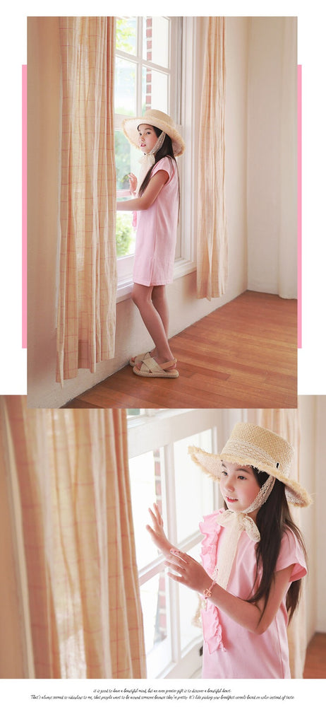 3-15Y Girls Pink Ruffles Casual Dress A20121B