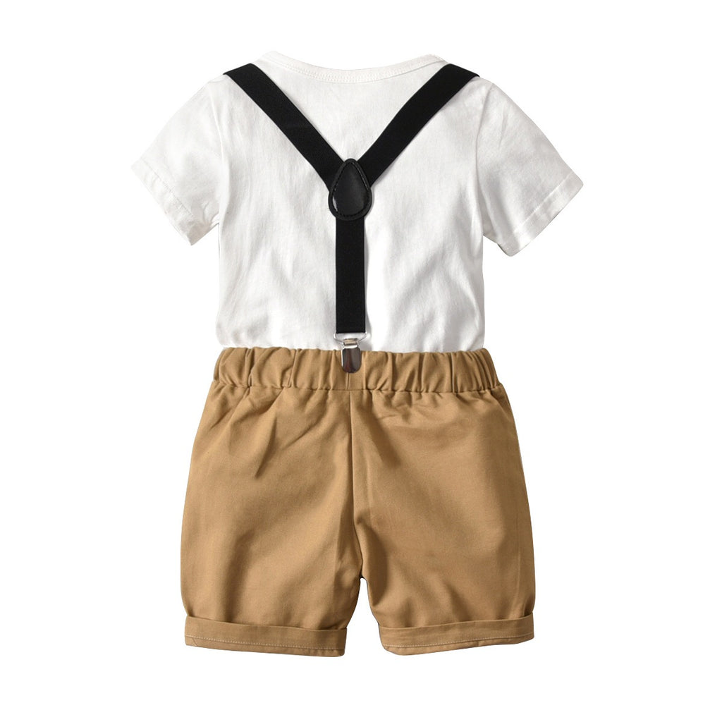 1-8Y Top and Bottom with Adjustable Suspender 3-Piece Set B10211D
