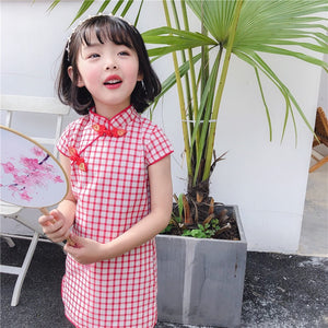 2-8Y Girls Checker Cheongsam Dress A200C69C