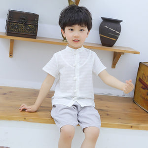 2-8Y Boys Mandarin Collar Top and Bottom 2pcs Set A100C43B