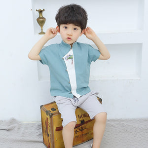 2-8Y Boys Mandarin Collar Top and Bottom 2pcs Set A100C43C