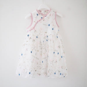 1-5Y Girls Embroidery Lace Cheongsam Dress A200C15D