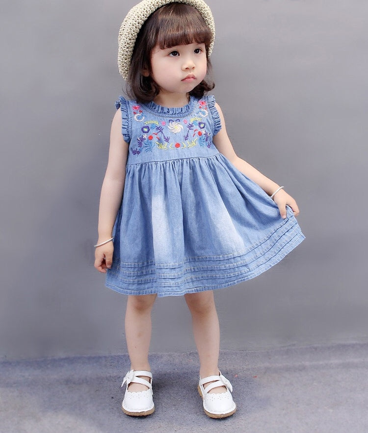 1-6Y Girls Embroidery Denim Dress A20122A
