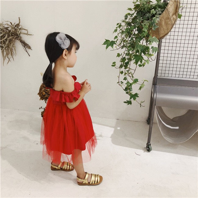 1-5Y Girls Red Tulle Dress A20128G