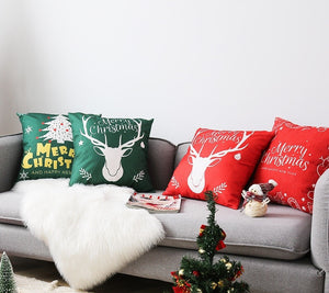 Linen Double Sided Printed Christmas Cushion Covers X658D