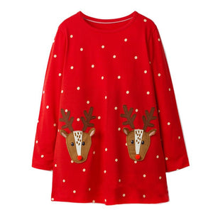 1-6Y Girls Red Christmas Reindeer Long Sleeves Dress A20141I