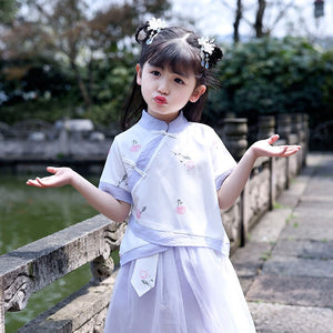 2-8Y Girls Cheongsam Top and Skirt 2pcs Set A200C41G