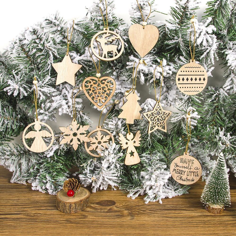 Christmas Wooden Ornament Pack of 12pcs/set A72522