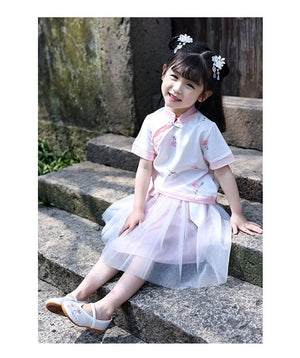 2-8Y Girls Cheongsam Top and Skirt 2pcs Set A200C41H