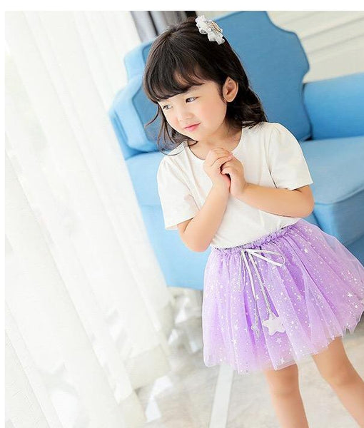 2-7Y Purple Glitter Tutu Skirt A2042F