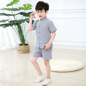 3-12Y Boys Kids Mandarin Top and Bottom 2pcs Set A100C42M