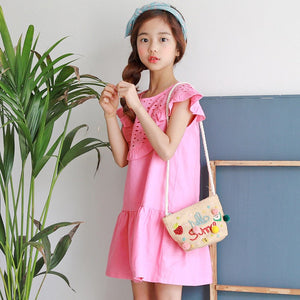 3-15Y Girls Pink Embroidery Frill Hem Dress G21034I