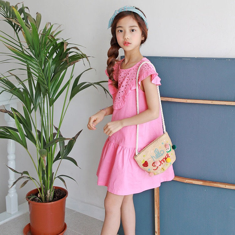 3-15Y Girls Pink Embroidery Frill Hem Dress G21034I (Mother size available)