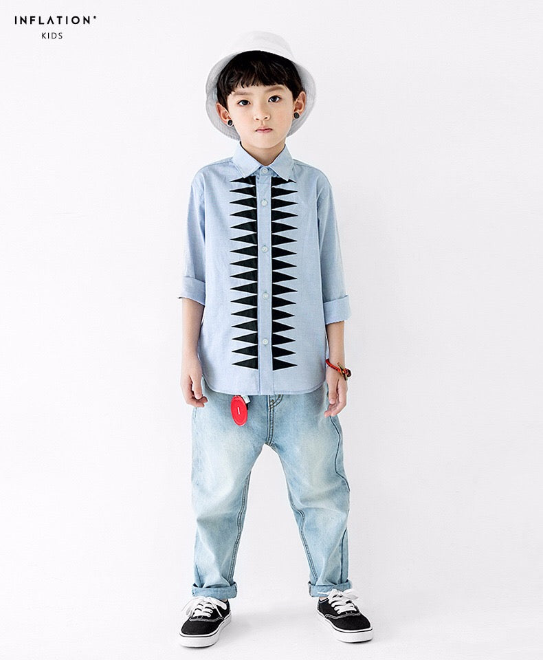 3-15Y Boys Light Blue Long-Sleeve Shirt A10442I