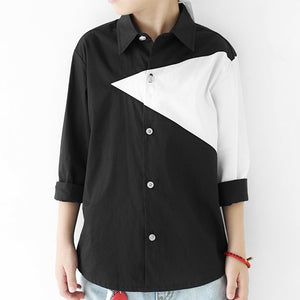 3-15Y Boys Black and White Shirt A10442B