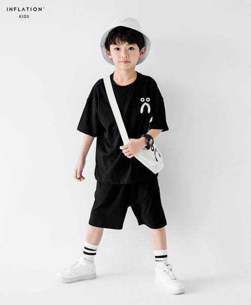 3-15Y Boys Black Smily Shirt A10442D (Father size available)