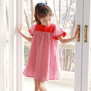 3-15Y Girls Red Checker Dress G21031G