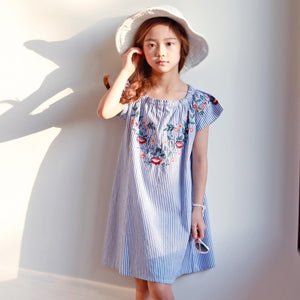 3-15Y Girls Blue Embroidery Dress G21031H
