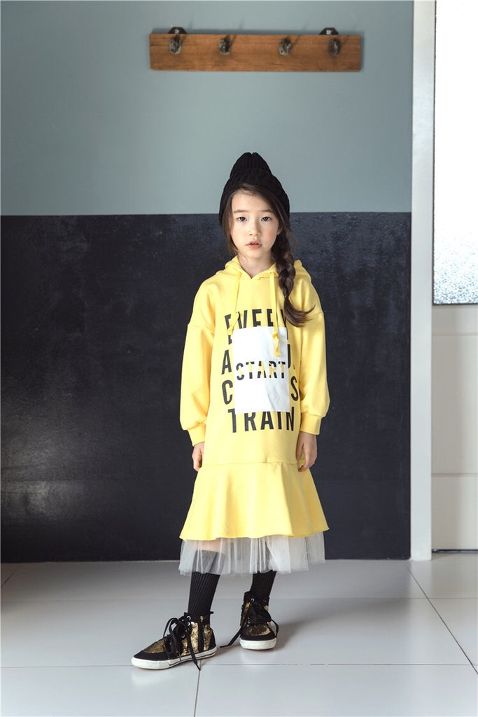 3-15Y Girls Yellow Hoodie Tulle Dress G21032A (Mother sizes available)