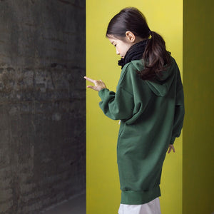 3-12Y Girls Green Hoodie Dress G21032B