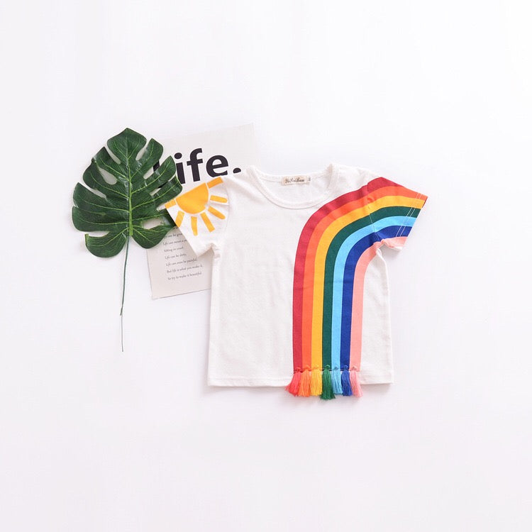 1-6Y Kids Rainbow Tassels Shirt A10423M
