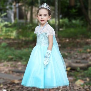 3-10Y Girls Frozen Elsa Glittering Dress with Cape G2091A