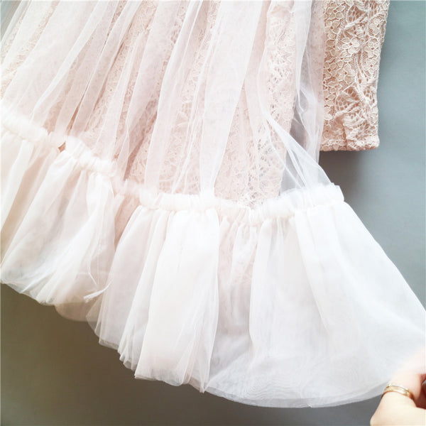 3-8Y Girls Pink Lace Tulle Dress G2021C