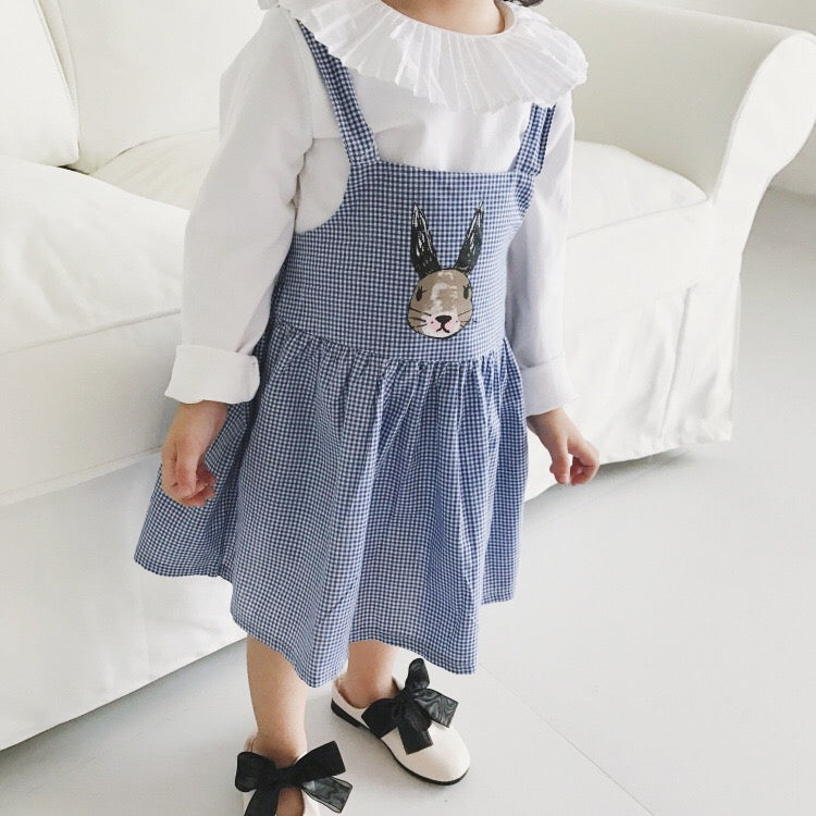 1-6Y Girls Bunny Checker Pinafore Dress A20125L