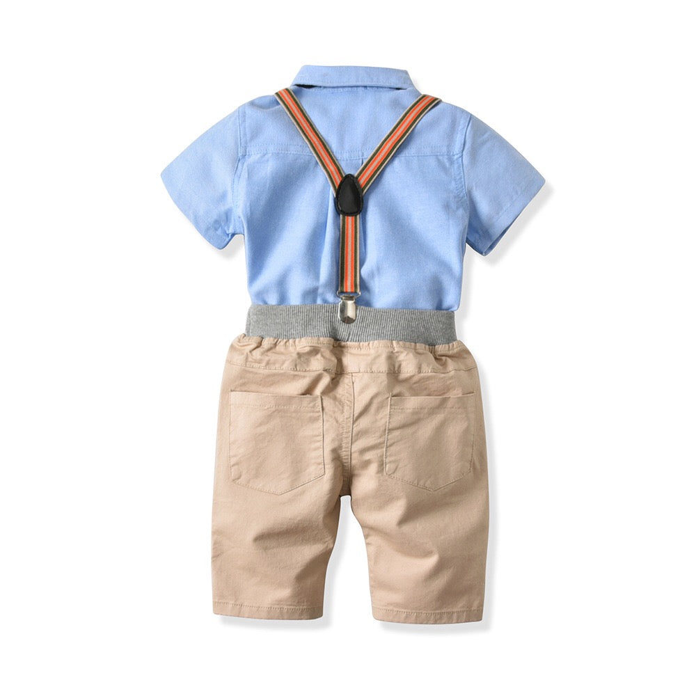 1-8Y Top and Bottom with Adjustable Suspender and Bowtie 4-Piece Set B10211E