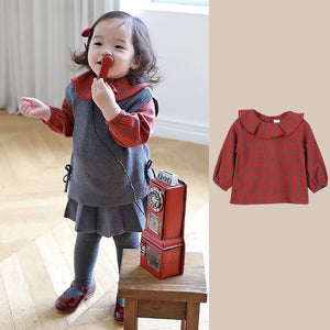 1-6Y Kids Red Checker Blouse A42111E