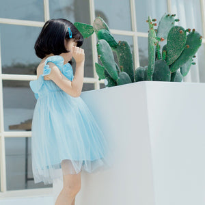 2-10Y Girls Off-Shoulder Tulle Dress A20126F